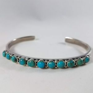 Jewelry - Blue Turquoise Row Cuff Sterling Silver Bracelet